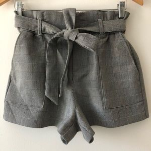 Zara Grey Plaid Tartan Tie Waist Shorts